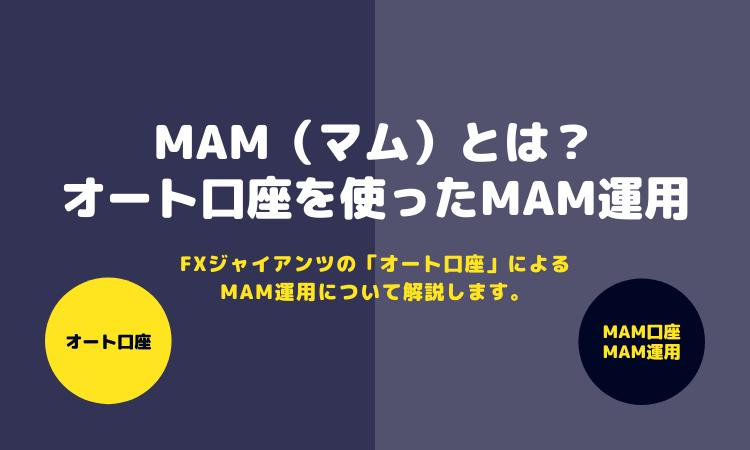 【解説】MAM(マム)とは?FXジャイアンツの「オート口座」を使ったMAM運用について